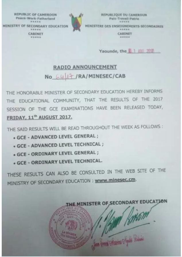 Cameroon GCE Board Releases The Much Awaited 2016/2017