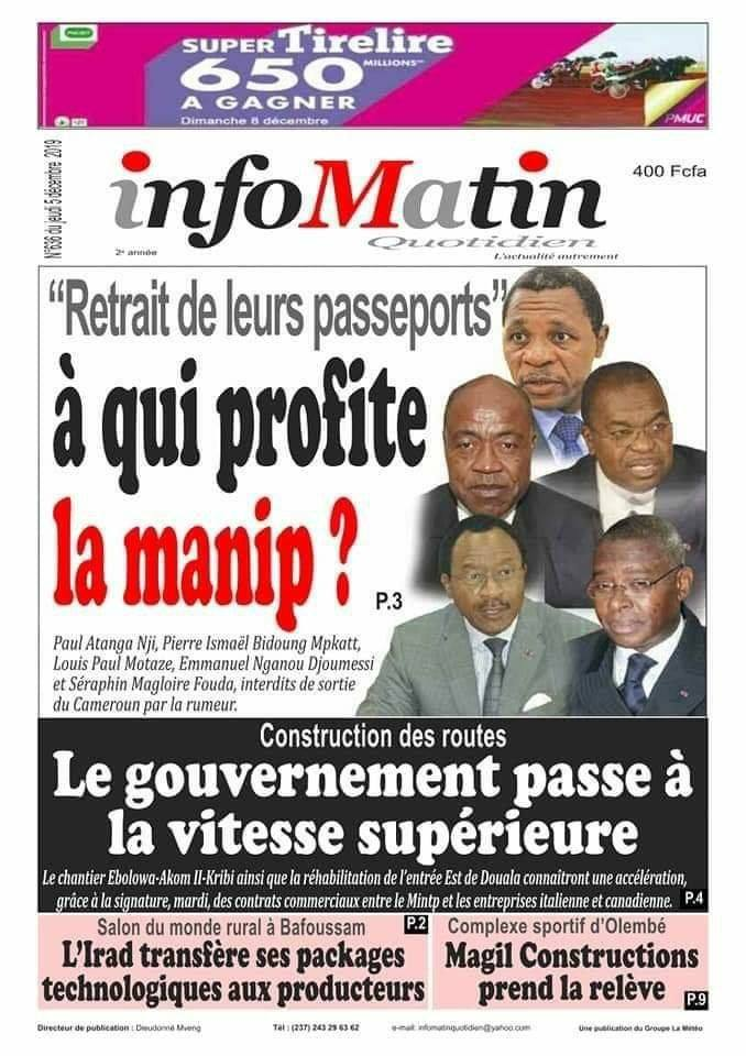 Info Martin on Atanga Nji, 4 Others Barred From Leaving Cameroon