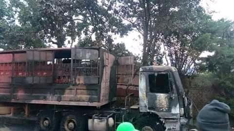Suspected Seperatist Fighters Burn Brasserie's Truck In Santa